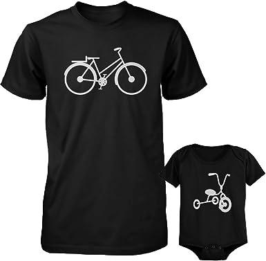 Bicicleta y Triciclo negro para papá y bebé a juego camisa y body - Negro - papà-XL/bebé-24 meses: Amazon.es: Ropa y accesorios