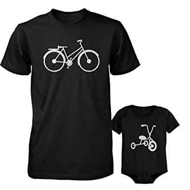 365 Printing Bicycle Daddy Shirt and Tricycle Baby Bodysuit Matching Outfit  Father s Day ... c55689a11