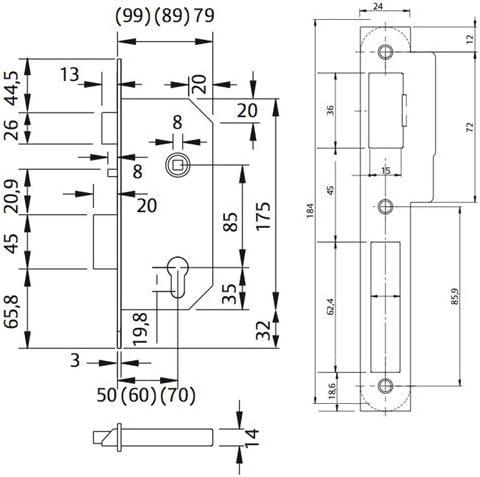 Tesa Assa Abloy, 203MNI60RAI, Cerradura Automática para Puertas de Madera, 70 mm: Amazon.es: Bricolaje y herramientas