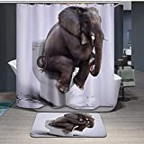 Waterproof Thick Shower Curtain 72'X72' and Microfiber Bathroom Matching Rug 16 x 24 inch,Set of 2( Elepant)