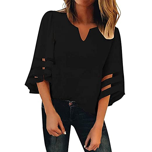 34611b09f Benficial Women's V Neck Mesh Panel Blouse 3/4 Bell Sleeve Casual ...