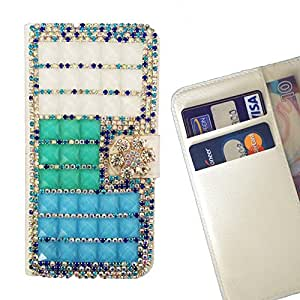 - Clear Bow Bownot Blue Gradient/ Slot Card Flip Case Cover Skin Bling Rhinestone Crystal Leather - Gaga Case - For HTC ONE A9