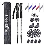 TheFitLife Nordic Walking Trekking Poles - 2 Packs with Antishock and Quick Lock System, Telescopic, Collapsible, Ultralight for Hiking, Camping, Mountaining, Backpacking, Walking, Trekking (Slivery)