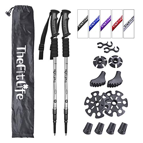 (TheFitLife Nordic Walking Trekking Poles - 2 Packs with Antishock and Quick Lock System, Telescopic, Collapsible, Ultralight for Hiking, Camping, Mountaining, Backpacking, Walking, Trekking)