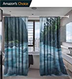 vanfanhome DIY Sheer Curtains, Raging Patagonia River Rapids Near Puerto Varas Chili Volcano Osorno South America Printing, Rod Pocket Two Panels for Bathroom Curtain, 52 x 96 Inch/Panel