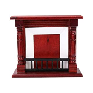 LyhomeO 1:12 Dollhouse Decoration Mini Red Fireplace Toy