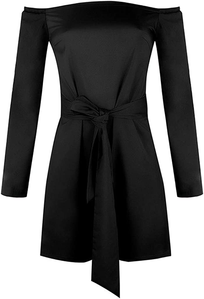 Womens Bandage Off Shoulder Long Sleeve Short Jumpsuit Black, L Ladies Summer Beach Party Work Playsuit Rompers