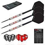 Red Dragon Phoenix: 25g - 90% Tungsten Steel Darts with Black Hardcore Flights, Shafts, Wallet & Red Dragon Checkout Card
