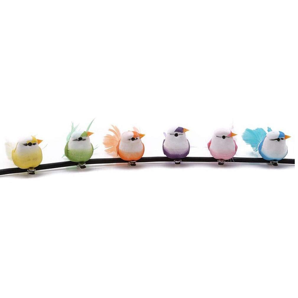 TOSSPER 6pcs Simulation doiseaux D/écoration Artificielle Plumes Mousse d/écorative Mini Oiseaux pour Le Bricolage Artisanat f/ête de No/ël D/écoration