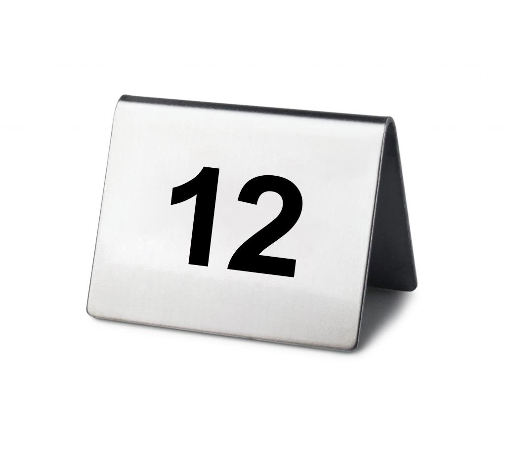 New Star Stainless Steel Tent Style Table Number Card, 2-Inch by 1.5-Inch, Numbers 1 to 25