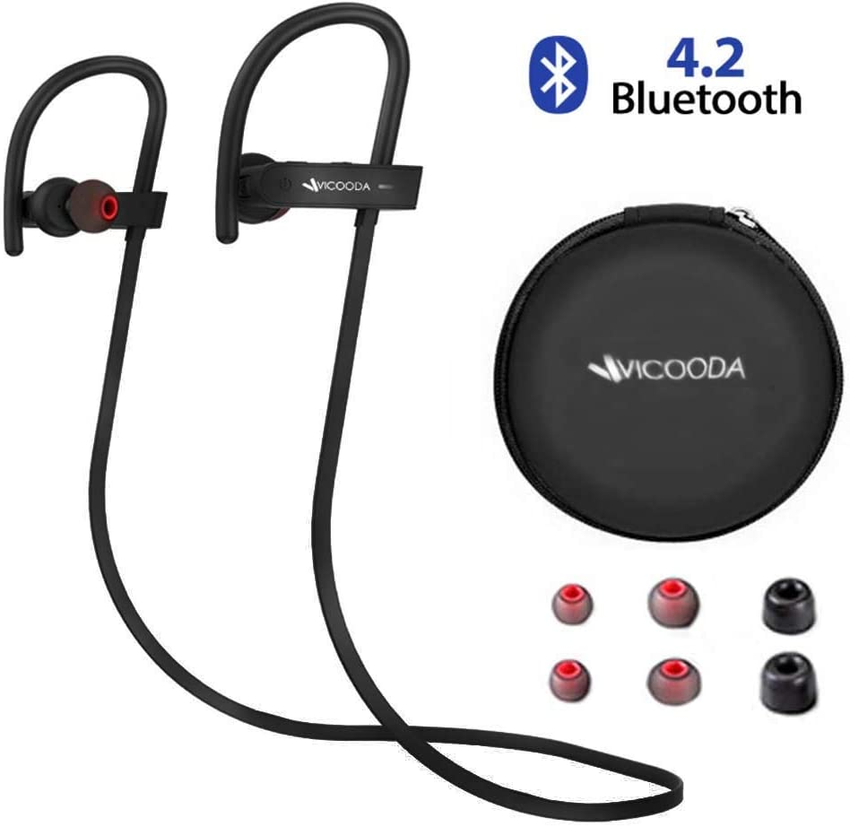Bluetooth Headphones, VICOODA Wireless Bluetooth 4.2 Sport Headphones with Mic, IPX5 Waterproof Earbuds HiFi Stereo Earphones for Music Gym Running, 8 Hours Play Time