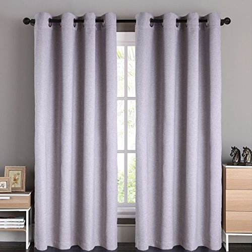 BLC 2 Panels Thermal Insulated Solid Grommet 52-Inch-by-84-Inch Blackout Curtains, x-Gray - Linen finishing