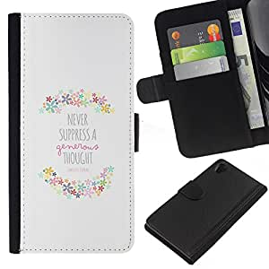 KLONGSHOP // Tirón de la caja Cartera de cuero con ranuras para tarjetas - Cita Primavera motivación feliz - Sony Xperia Z2 D6502 //