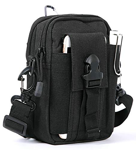 Tactical Molle Pouch, Multipurpose EDC Waist Bag Compact Belt Purse with Cell Phone Holster Holder for iPhone 7 6s Plus 5S Samsung Galaxy S7 S6 LG HTC and More, Black