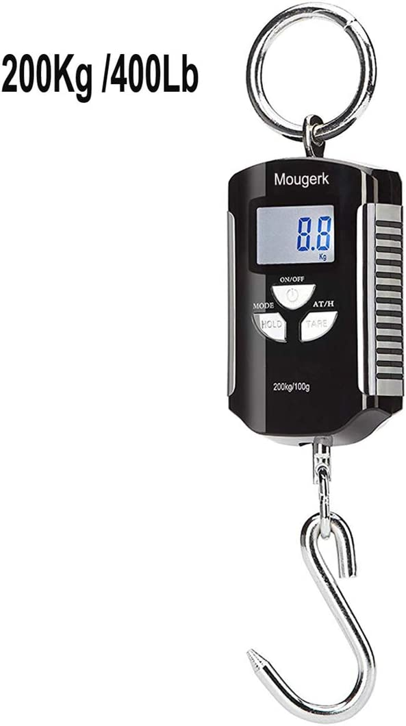 Mougerk Digital Hanging Scale Portable Heavy Duty Crane Scale 400lb 200kg 2 AAA Batteries Not Included