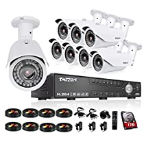 TMEZON HD 1080N 16 Channel AHD Security System with 8x 2.0MP Cameras 130ft Night Vision 2.8-12mm Zoom Lens Outdoor Video Surveillance DVR Kits 1TB HDD
