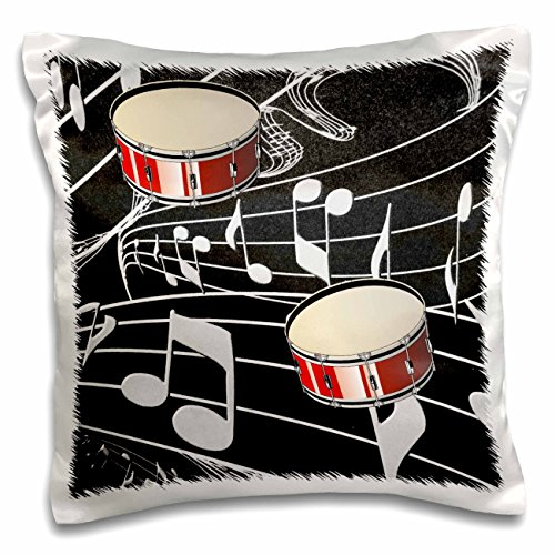 3dRose pc_38199_1 Red Drums on Music Notes-Pillow Case, 16 by 16