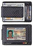 NapaWalli Genuine Leather Magnetic Front Pocket Money Clip Slim Minimalist Wallet (Carbon Fiber Leather Black)