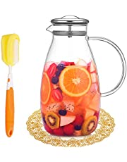 Artcome 90 Ounces Glass Pitcher with Stainless Steel Lid, Hot/Cold Water Jug, Juice and Iced Tea Borosilicate Glass Beverage Carafe