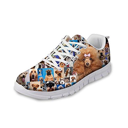 ThiKin スポーツシューズ メンズ 軽量 トラベルランニングシューズ レディース 個性的 クッション性 カジュアル デイリー 個性的 かわいい 狗 柄 3Dプリント 靴 日常着用 通気 おしゃれ ファッション 通勤 通学 プレゼント