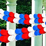 """American Summer Fourth of July Party Red, White and Blue Paper Petal Garland Decoration, Crepe, 9 Feet x 6"""""""
