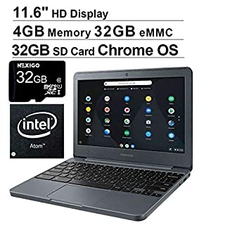 2020 Newest Samsung Chromebook 11.6 Inch Premium Laptop for Business Student| Intel Atom x5-E8000 up to 2.0GHz| 4GB LPDDR3 RAM| 32GB eMMC| WiFi| HDMI| Chrome OS + NexiGo 32GB MicroSD Bundle