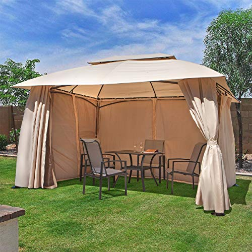 Barton 10' x 13' ft Garden Patio Gazebo Fully Enclosed Weather UV-Resistant w/Mosquito Netting and Curtains -Beige