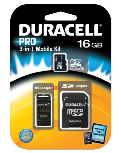 Duracell 16GB Micro SD Card U1 3-in-1 Memory Kit with SD ...