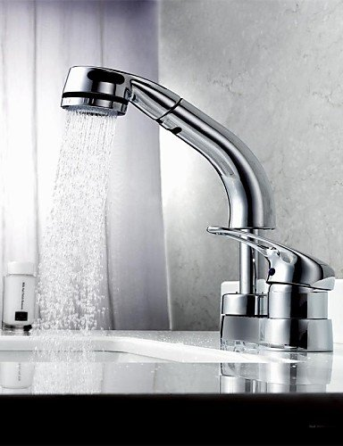 Ling@ Basin mixer Contemporary Pullout Spray Brass ()