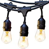 48ft Outdoor String Lights Commercial Great Weatherproof Strand 18 Dimmable Edison Vintage Bulbs 15 Hanging Sockets, UL Listed Heavy-Duty Decorative Café Patio lights for Bistro Garden Wedding Malls