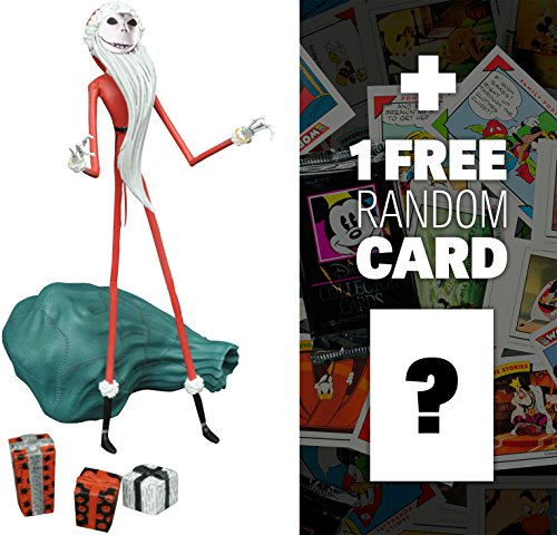 Santa Jack: Diamond Select x Nightmare Before Christmas Action Figure Wave 2 + 1 FREE Classic Disney Trading Card Bundle (18112)