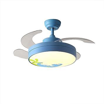 Huston Fan Kid - Ventilador de techo con 4 aspas retráctiles para niños o dormitorios, mando a distancia, LED variable, ventilador de araña, ventilador de techo con luces: Amazon.es: Bricolaje y herramientas
