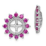 ICE CARATS 925 Sterling Silver Diamond Created Red Ruby Earrings Jacket Birthstone July Fine Jewelry Ideal Gifts For Women Gift Set From Heart