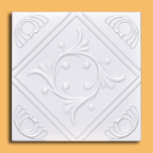 White Styrofoam Ceiling Tile Anet (Package of 8 Tiles Each of ~20x20) - Other Sellers Call This Diamond Wreath and R02 Antique Ceilings