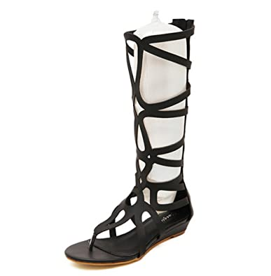 special sales look for sale online Amazon.com | CRC Women's Wedge Heel Knee High Leatherette ...