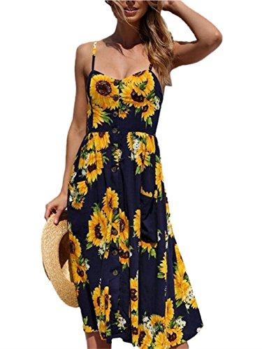 Kfnire vestido midi, botines de correa de espagueti bohemio florales de verano de las mujeres abajo vestidos de oscilación con bolsillo A- Armada
