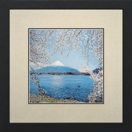 (King Silk Art Susho, 100% Handmade Silk Embroidery - Fuji Mountain and Cherry Blossoms - White Mat Framed Medium Size)