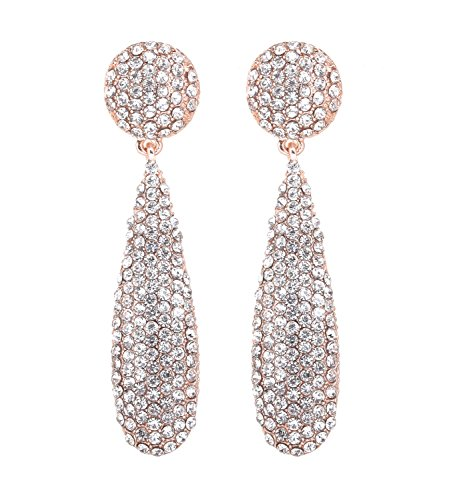 NLCAC Marquise Dangle Earrings Dual Marquise Chandelier Drop Earrings for Women (tear drop clear crystal) (Dangling Chandelier Earrings)
