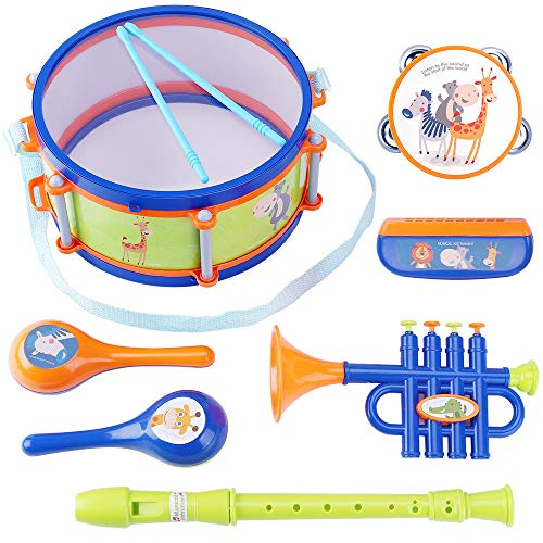 iPlay, iLearn Toddler Musical Instruments Toys, Kids Drum Set, Percussion, Tambourine, Trumpet, Maraca, Harmonica, Flute, Rhythm Learning Gift for 18 Month 1 2 3 4 5 Year Olds Baby Boys Girls Children (Best Toddler Drum Set)