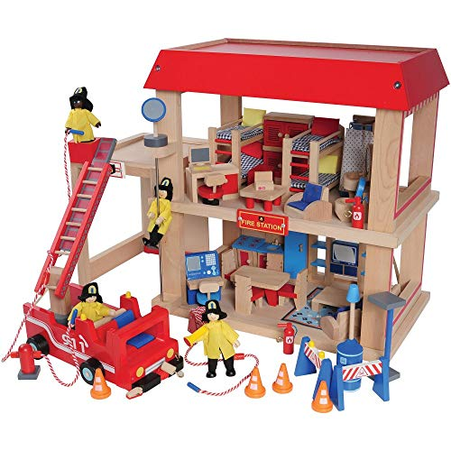 Constructive Playthings Wooden Firehouse Play Set with 4 Fire Fighters, Fire Truck, Furniture and Equipment.