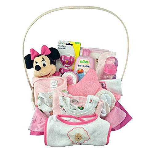 NEWBORN BABY GIRL GIFT BASKET- MEDIUM PINK