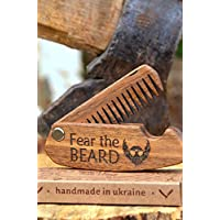 "Beard Comb Wood Folding Pocket Mustache Hair Gift for Him Father Brother Husband Friend Birthday Anniversary covered with oil-wax 4,3""x 1,2"" - By Enjoy The Wood - great with beard hair Balm and Oil"