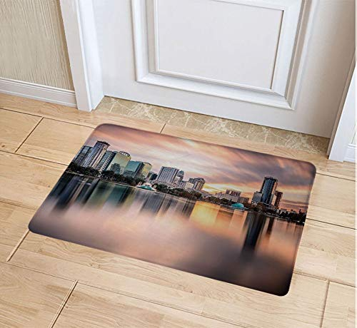 JYDIY 3D Printing Doormat, Decorative Polyester Floor Mat with Non-Skid Backing, 16W X 24L Inches Entry Carpet