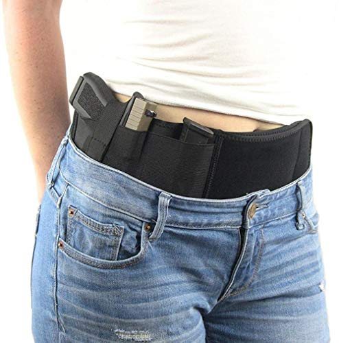 FOUUA Belly Band Holster for Concealed Carry, Elastic Neoprene Inside Waistband Holster with Hand Gun Holder for Men and Women, Fits Ruger, Sig Sauer, Glock, S&W M&P