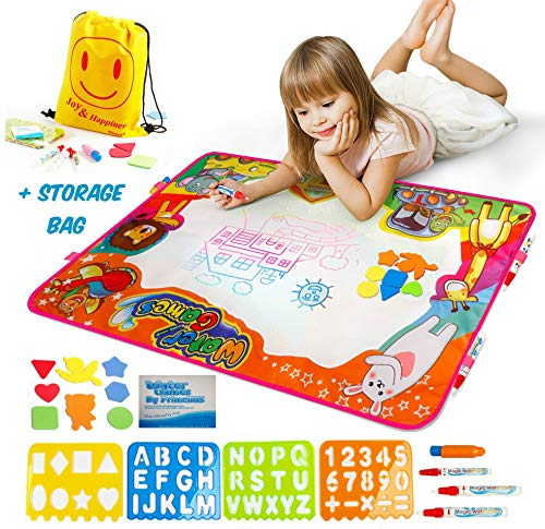 PrimeIRIS Large Water Doodle Mat Aqua Magic Board No Mess Coloring Book for Toddlers Educational Gift Toys for Children Girls Boys Water Drawing Mat Painting Pad for Kids 8 Colors and 1 8 Accessories