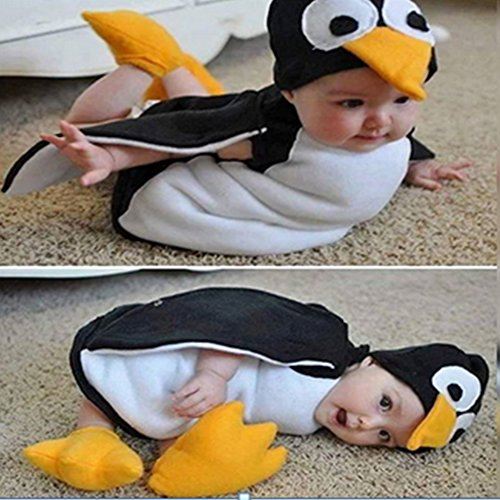 Infants Cute Penguin Suit Baby Cartoon Fleece Hooded Young Children Cosplay Costume Romper + Shoes for $<!--$12.99-->