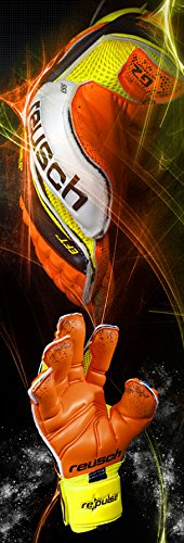Reusch Pulse Deluxe G2 Ortho-Tec Goalkeeper Gloves, Orange/Yellow, Size 9
