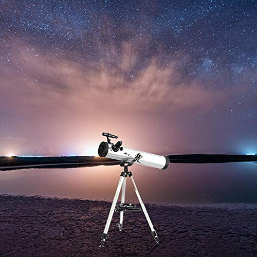 Leiyini Student Portable Telescope Outdoor 1.5 Times Magnification Mirror Telescope Astronomy 2 Times Barlow Large Diameter with Tripod Silver Single Cylinder Telescope by Leiyini (Image #8)