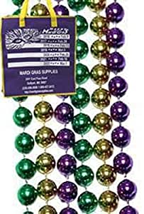 "Mardi Gras, Purple, Green, and Gold Metallic Beads, 12 mm, 48"", 1 Dozen (12pcs)."