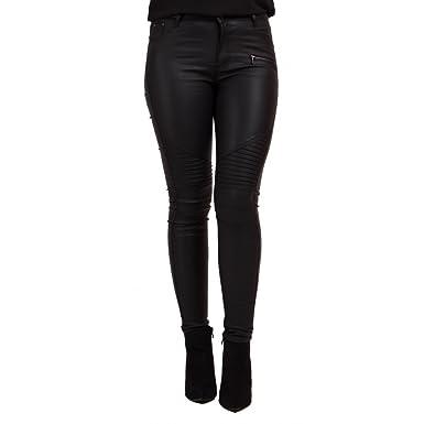 Primtex Jean Femme Enduit Noir Taille Haute à Zip Coupe Slim-  Amazon.fr   Vêtements et accessoires 98862ed53890